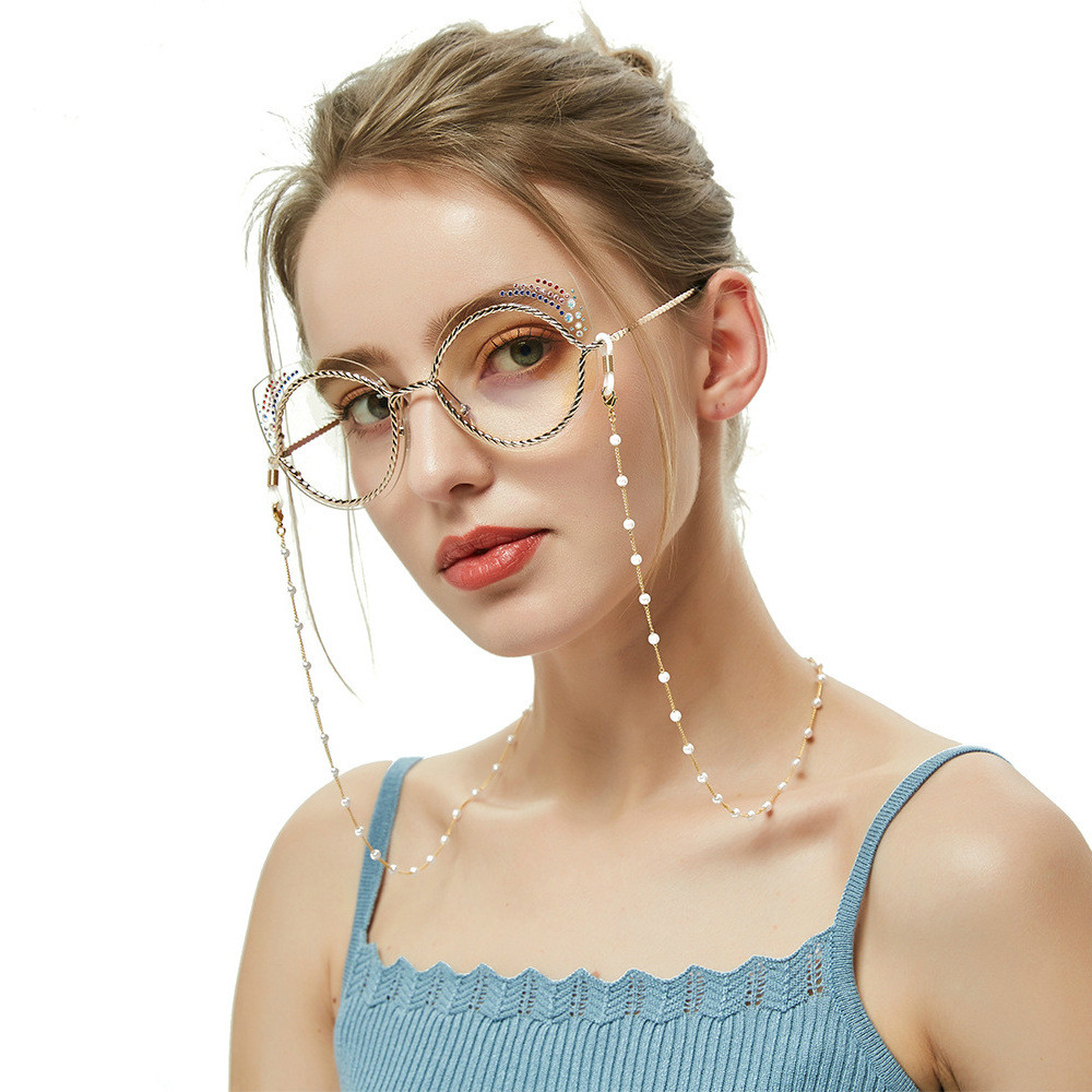 Vintage Stainless Steel Chain Eye Glasses Sunglasses Spectacles Pearl Bead Chain Holder Cord Lanyard Necklace Glasses Accessory