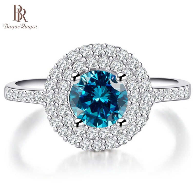 Bague Ringen 100% Silver 925 Ring For Women With Round Blue Sapphire Gemstone Zircon Silver Jewelry Engagement Woman Party Gifts