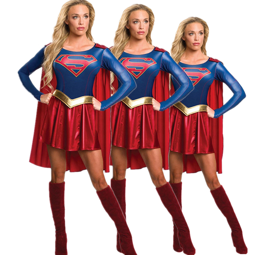 Costumes Wonder Woman Cosplay Cloak Superhero Disguise Spiderman Super Girl  Fancy Female Halloween Carnival Party Noble Warrior