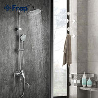 Frap Bath Shower Faucets Set Bathtub Mixer Faucet Rainfall Shower Tap Chrome Bathroom Shower Head Exposed Shower Mixer