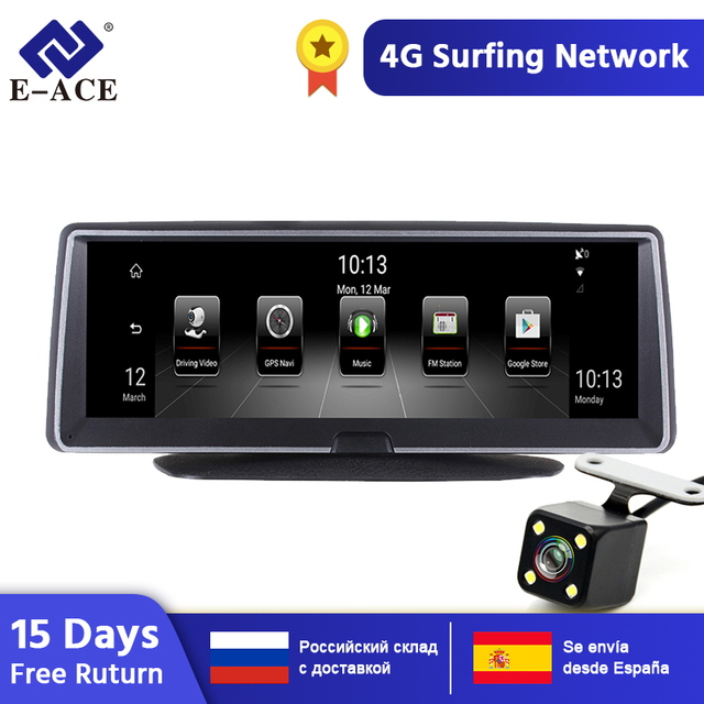 E-ACE E04 8 Inch 4G Android Dual Lens Car DVR GPS Navigator ADAS Full HD 1080P Dash Cam Auto Video Registrar Navigation Recorder