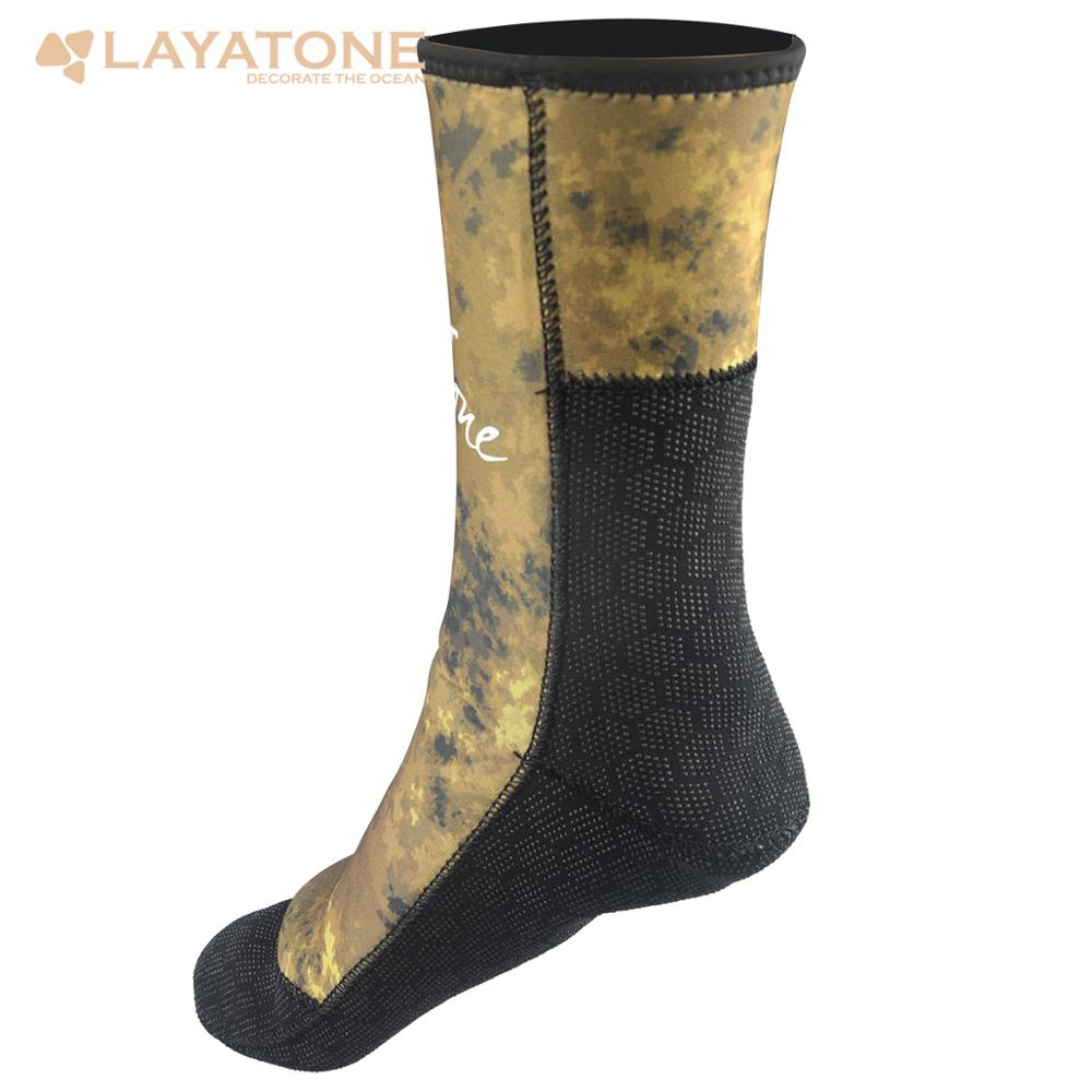 Layatone Wetsuit Socks Camouflage 3mm Neoprene Diving Socks Surfing Shoes For Underwater Hunting Spearfishing Swimming Keep Warm