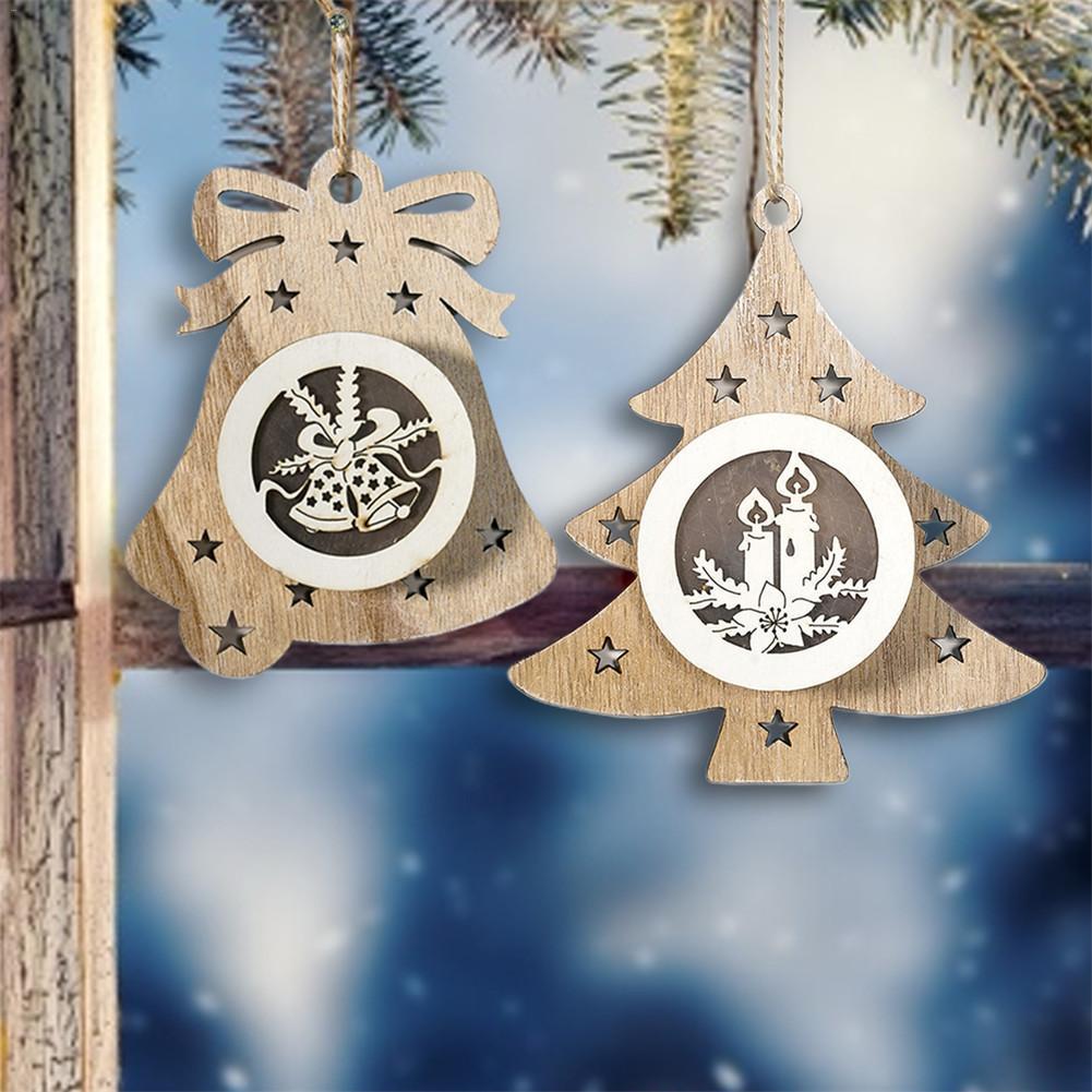 Christmas LED Wooden Pendant Lovely Cutout Pentagram Christmas Lights Christmas Tree Lights Pendant Ornament Christmas Tree LED