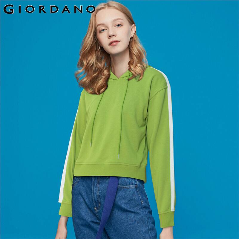 Giordano Women Sweatshirts Solid Kanga Pocket Hoodie Ribbed Cuffs And Hem Casual Jaqueta Feminina 90329605
