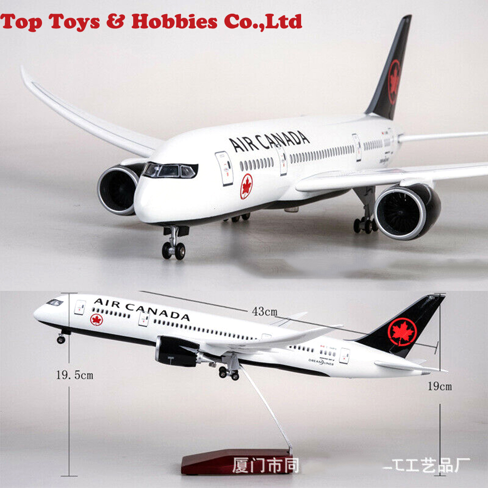 Kids Toys 11/130 Air Canada B787 Passanger Plane 43cm Aircrat LED Voice Lamp Resin Aircraft 43cm Passanger Plane Airforce Model