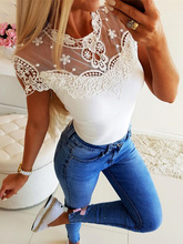 2019 Autumn Women Elegant White Basic Top Female Patchwork Fashion Leisure Shirt Short Sleeve Lace Yoke Casual Top geo lace yoke flutter sleeve top