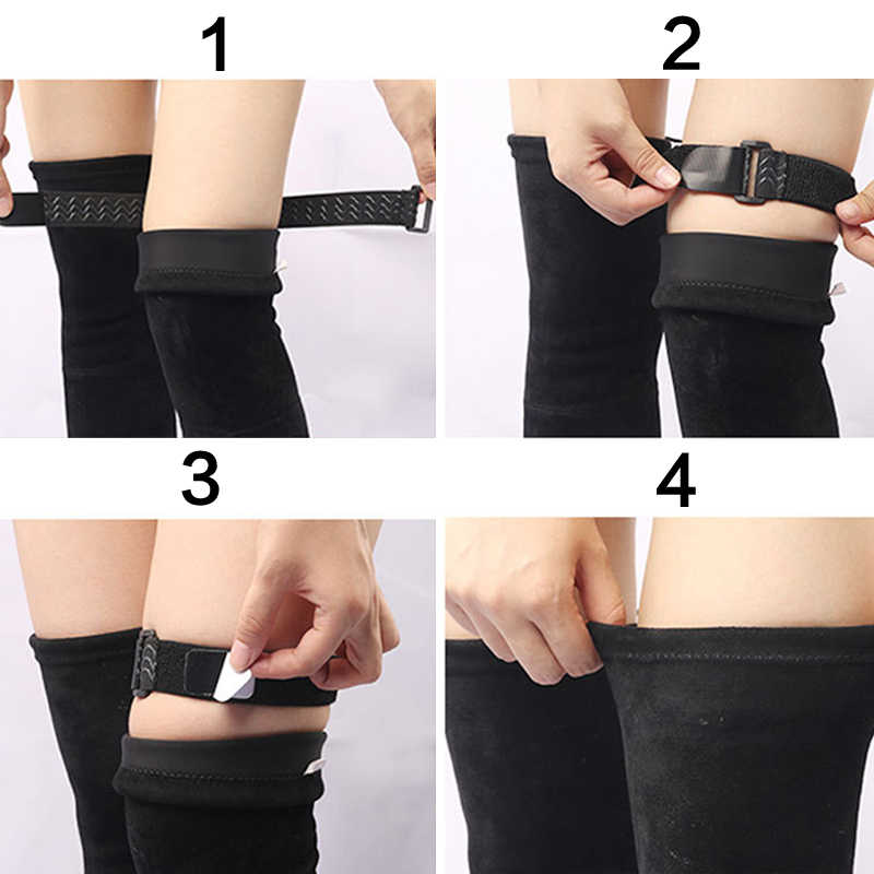 1 par de botas correa elástica Mujer señora zapatos de fijación Anti caída accesorios elástico ajustable interior cinta adhesiva antideslizante