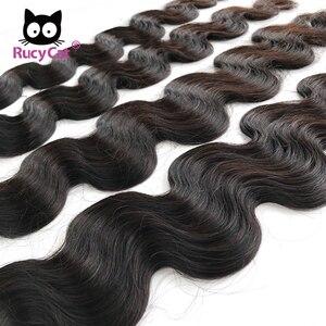Image 4 - RucyCat 08 40 inç brezilyalı insan saçı örgüsü demetleri vücut dalga 1/3/4 demetleri doğal renk Remy saç ekleme