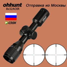 ohhunt Hunting Compact Riflescope 8X32 AOIR Mil Dot Red Green Illumination Optical Sights Glass Etched Reticle Tactical Scope цена в Москве и Питере