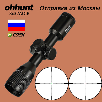 ohhunt Hunting Compact Riflescope 8X32 AOIR Mil Dot Red Green Illumination Optical Sights Glass Etched Reticle Tactical Scope цена 2017
