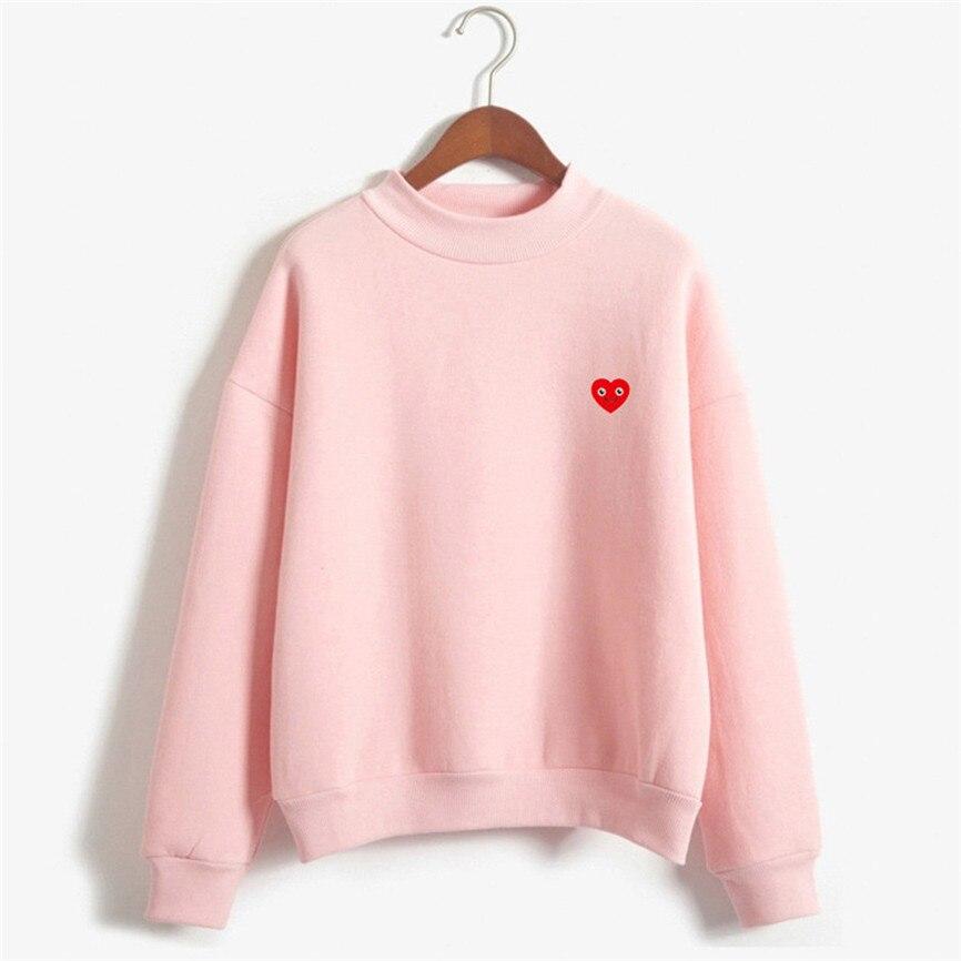 Pink women's Sweatshirts 2020 Women O-Neck Solid Color Smiley Love Pattern Long Sleeve Plus Velvet Sweatshirt Jumper
