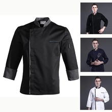Chef-Jacket Waiter-Uniform Pastry Cook-Coat Restaurant-Clothes Bakery Long-Sleeve Kitchen
