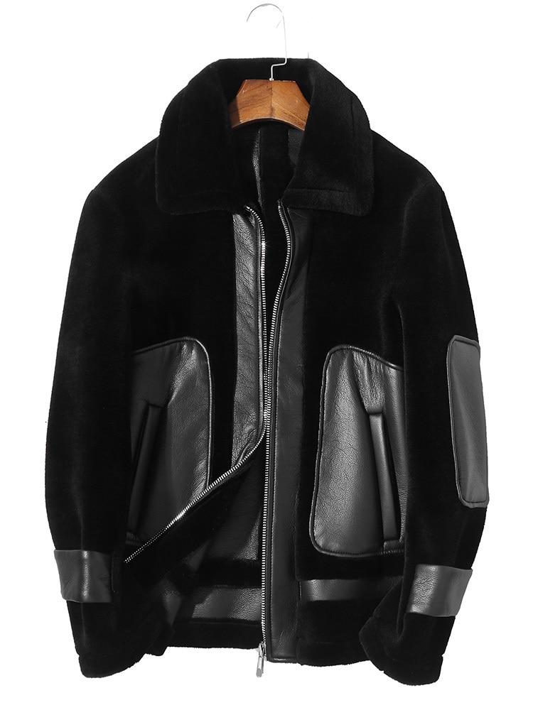 100% Wool Coat Winter Jacket Men Real Sheep Shearling Fur Coats Streetwear Men's Leather Jacket Plus Size  P-1-7331 MY1581