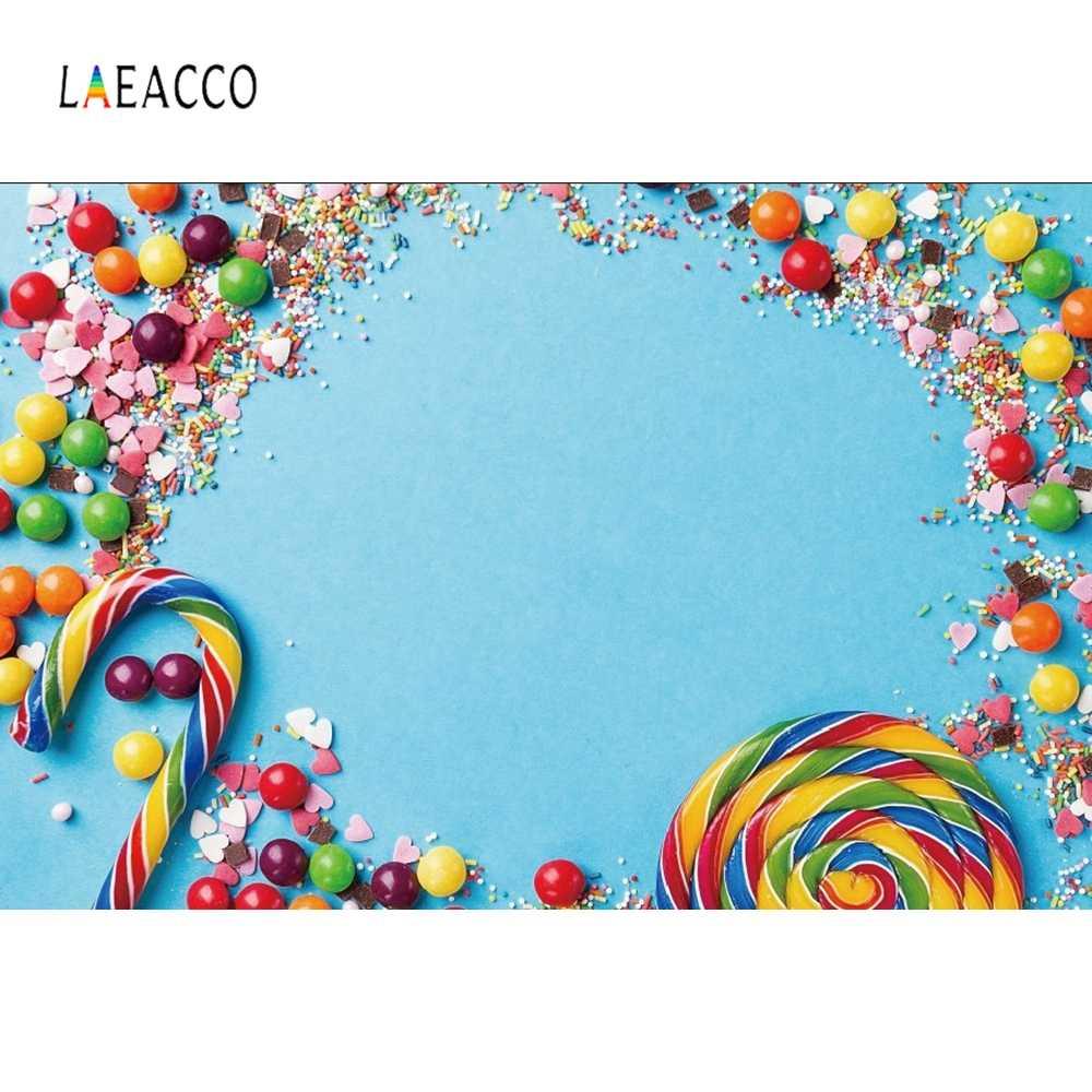 Laeacco Ulang Tahun Bayi Photophone Permen Pesta Photozone Lollipop Manis Fotografi Latar Belakang Foto Latar Belakang untuk Foto Studio