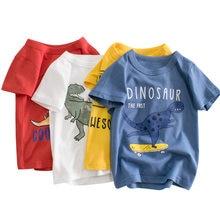 OLEKID 2021 Summer Cartoon Dinosaur Boys T-shirts Short Sleeve Cotton Boys Tops 2-10 Year Kids Boys Shirt Children Clothes