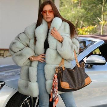 FURSARCAR personalizar abrigo de piel Natural Real para las mujeres Stand Collar Full Pelt azul chaqueta de piel de zorro Invierno Caliente abrigos de piel auténtica nuevo
