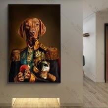 Картины на холсте для домашних животных постеры собака в военной