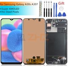 Super AMOLED Voor Samsung A30s lcd A307 Touch Screen Digitizer Vergadering + frame A307FN A307GN SM A307F/DS scherm reparatie onderdelen