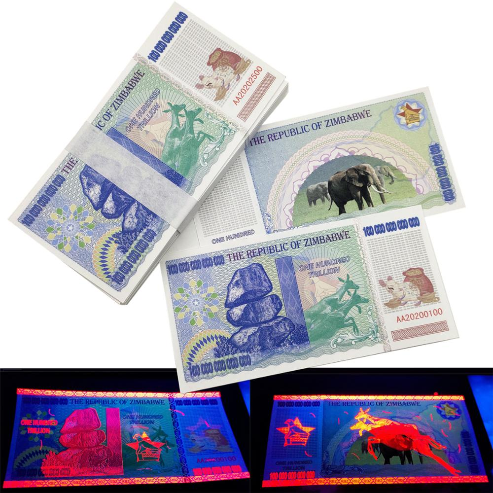 Zimbábue papel anti dinheiro falso 100 trilhões de notas de nota bancária não-moeda colecionáveis