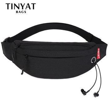 TINYAT Men Male Waist Bag Pack Purse Casual Large Phone Belt Bag Pouch Canvas Travel Phone Bag Fanny Banana Bag Hip 5 Pockets