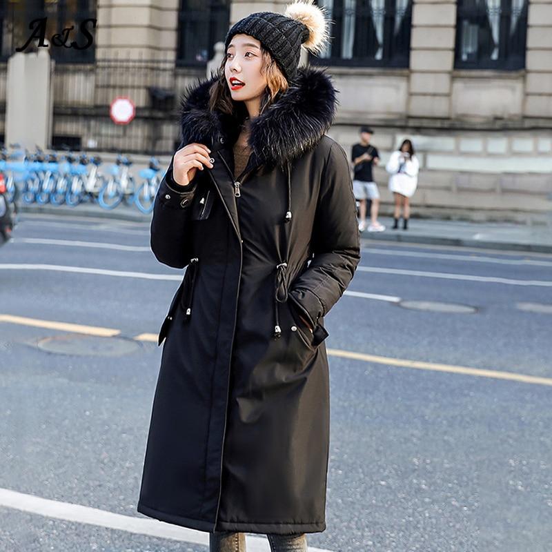 Купить женская длинная парка с капюшоном anbenser хлопковой подкладкой