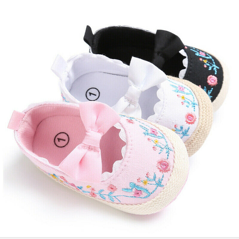 Newborn Baby Girl Floral Crib Shoes Soft Sole Bowknot Prewalkers Anti-slip Sneakers Pram First Walker Trainers 0-18M