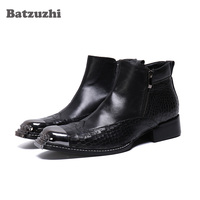 Batzuzhi zapatos de hombre Fashion Black Genuine Leather Short Boots Zip Italy Type Handmade Business Dress Boots, 38 46