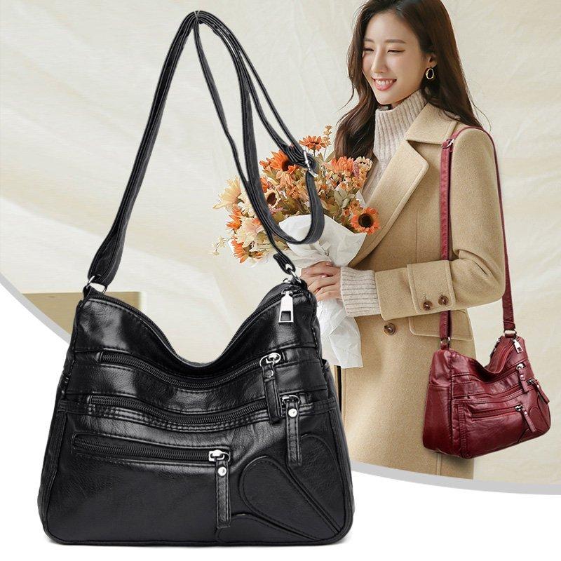 High Quality Women's Soft Leather Shoulder Bags Multi Layer Classic Crossbody Bag Luxury Designer Handbag and Purse