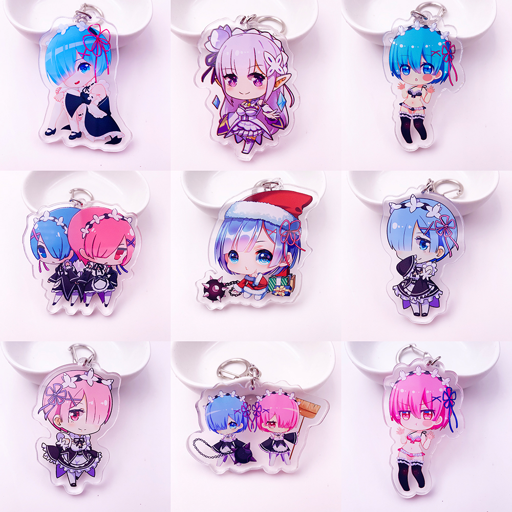 Japan Anime Re Zero Acrylic Twoside Print Keychain 9 Style Rem Ram Emilia Cartoon Figures Keyrings Portachiavi Toys K0118