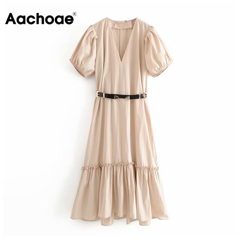 Aachoae Elegant Deep V Neck Midi Dress Puff Short Sleeve Pleated Dress With Belt Solid Casual Ladies Dresses Vestidos Mujer
