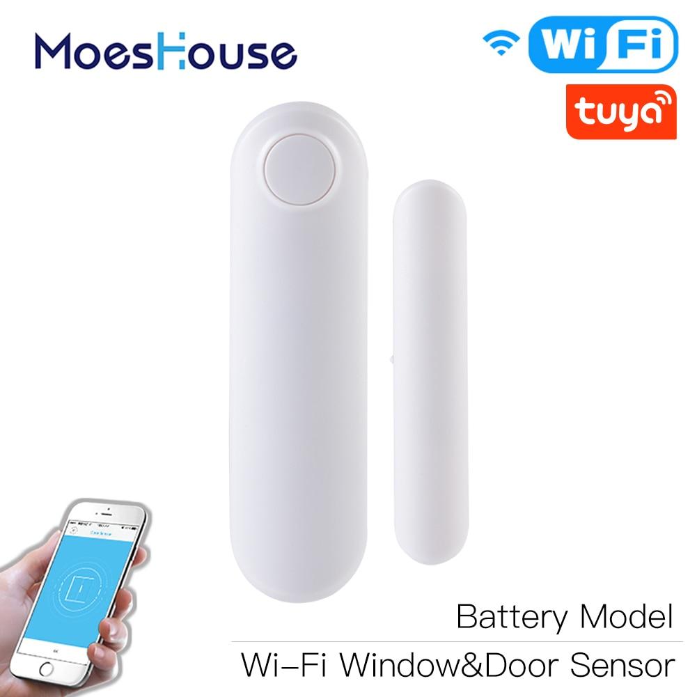 WiFi Smart Door Window Sensor APP Notification Alerts Home Alarm Security Detector, Compatible With Alexa Google Home