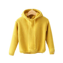 Knitted Sweater Girl's Baby Korean-Version Winter Child Warm Hooded Coat Fashionable