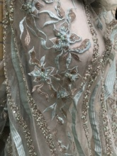 unique and popular embroidered net lace fabric JIANXI.C 209809 pretty flower BEADED net fabric for bridal dress