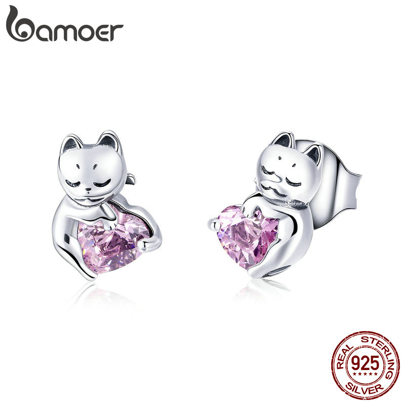 BAMOER New Arrival 925 Sterling Silver Cat Pussy Pink Cubic Zircon Small Stud Earrings For Women Fashion Silver Jewelry SCE453