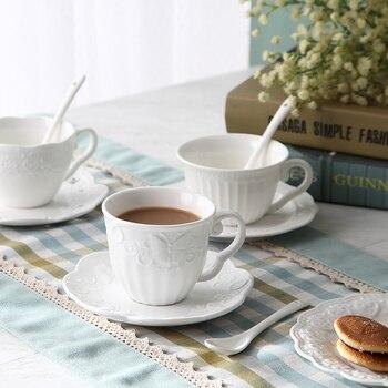 Taza de té en relieve europeo para mujer, platillo blanco pequeño para...