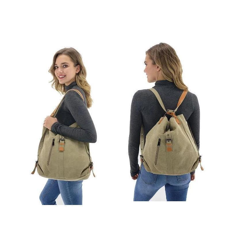 Canvas Women Shoulder Bags High Quality Multifunction Women Back Pack For Students School Travel Bags Large Capacity 2