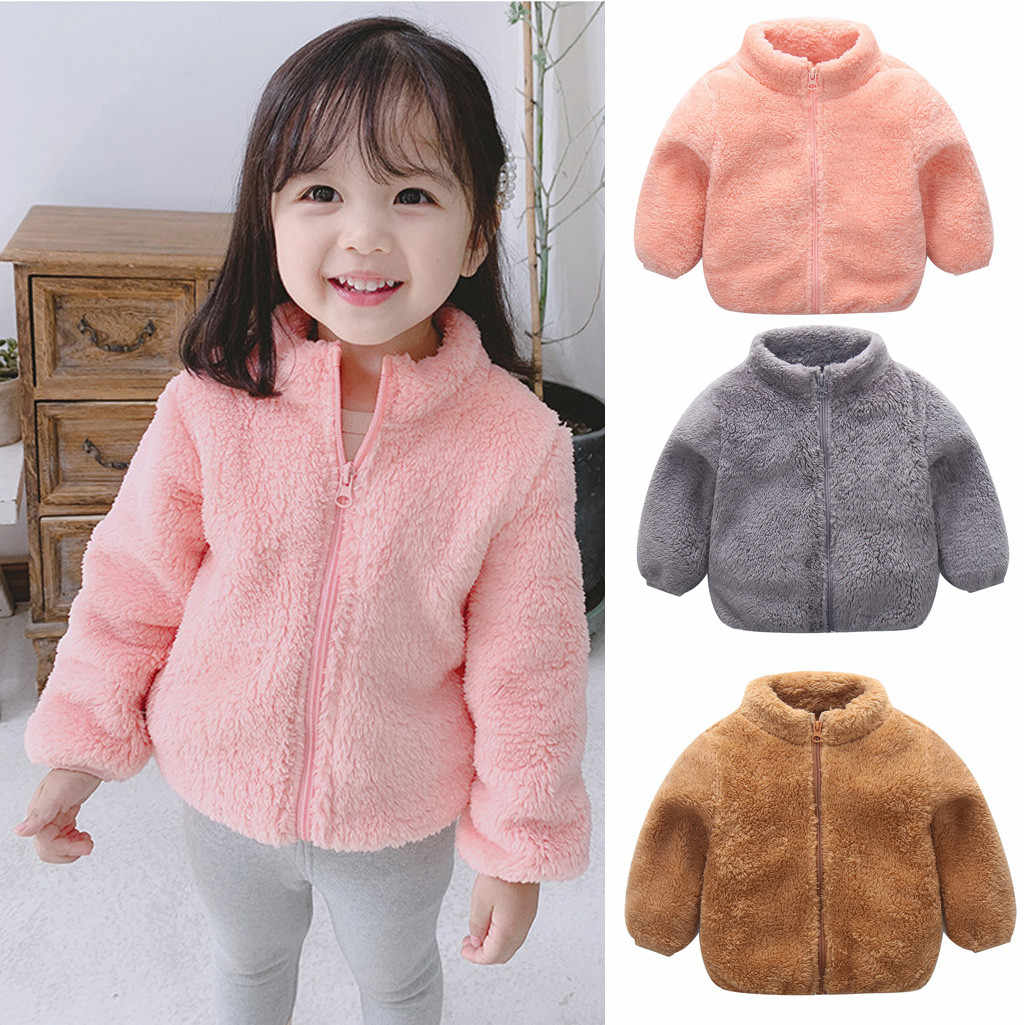 TELOTUNY Baby Girl boy Autumn winter FlannelPlush and velvet Zipper Solid Thick Coat Warm Outwear Coat Jacket Clothes ZO16