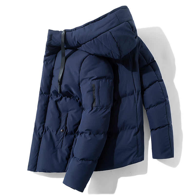 Hot Fashion Berkerudung Mantel Musim Dingin Pria Tebal Hangat Warna Solid Jaket Tahan Angin Ayah Hadiah Jaket Padded Mantel Fashion lebih Tahan Dr
