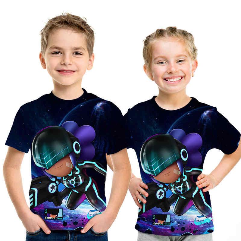 Новое поступление, футболки с 3D-принтом «драка» и «звезды», летние топы, Детские футболки, модная повседневная футболка для мальчиков и девочек