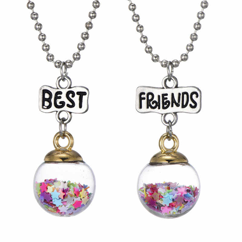 2 PCS Colorful Star Drifting Bottle Pendant Necklaces Best Friend Kids Children Gift of Student Friendship Jewelry