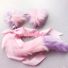 Fox Tail Bow Metal Butt Anal Plug Cute Soft Cat Ears Headbands Erotic Cosplay Accessories Adult Sex Toys For Couples