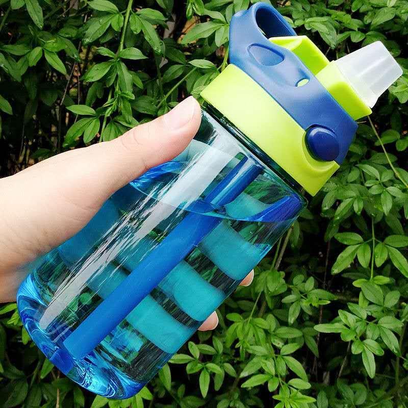 New 480 ml Cute Baby Water Cup Leak Proof Bottle with Straw Lid Children School Outdoor Sport Cool Drinking Bottle Training Cup Water Bottles    - AliExpress