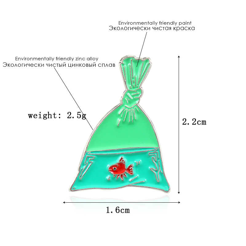 Ikan Merah Hijau Tas Transparan Bros Enamel Pin untuk Wanita Hadiah Kreatif Pakaian Lencana Aksesoris Wanita Perhiasan