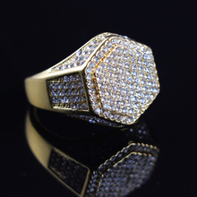 Luxury Hexagon Rhinestone Rings for Men Women Hip Hop Gold Rings Bling Iced Out Rings Male Hip Hop Jewelry Fashion Accessories