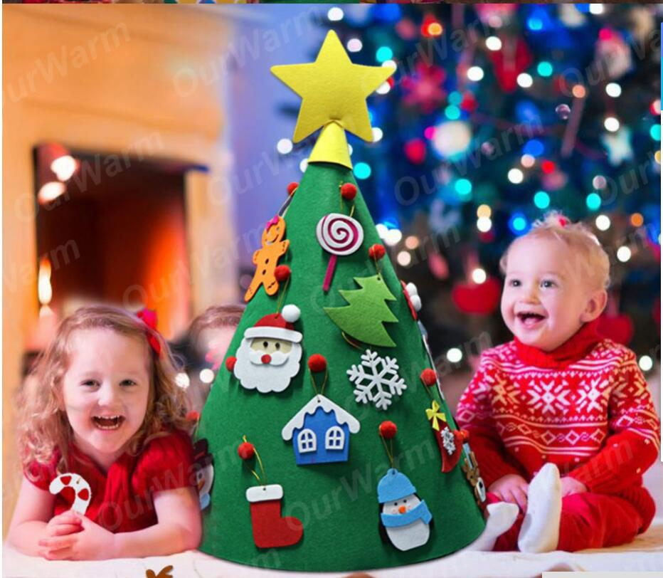 Set-up 3D Felt Christmas Tree Children Handmade Puzzle DIY New Year Gifts Kids Decorations Christmas Door Wall Hanging Ornament