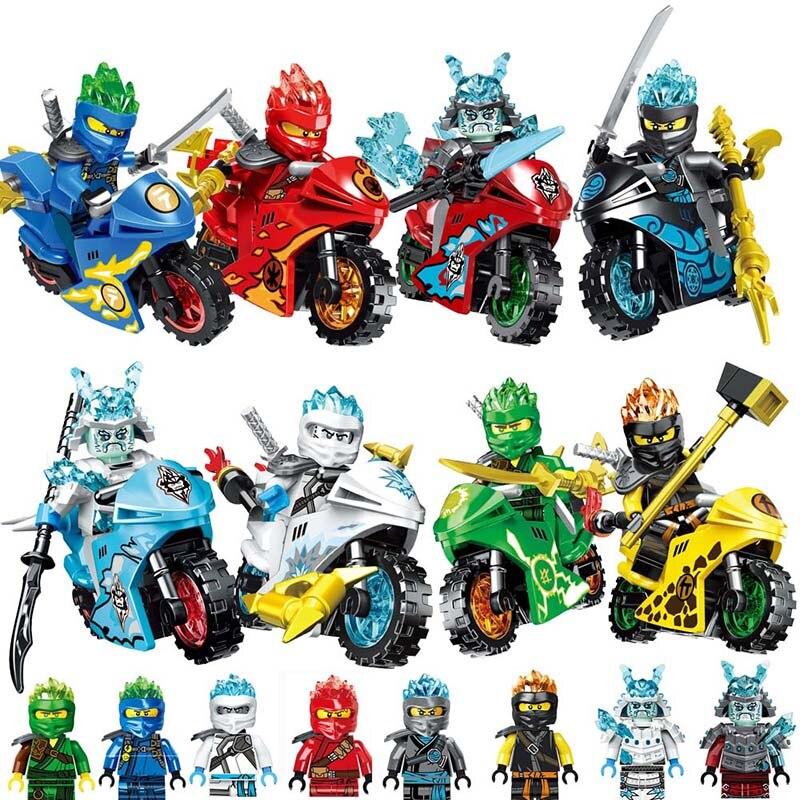 2019 8PCS/LOT NINJA Motorcycle Heroes Kai Jay Cole Zane Lloyd With Weapons Toys Legoinglys Ninjagoingly Action Figures Blocks