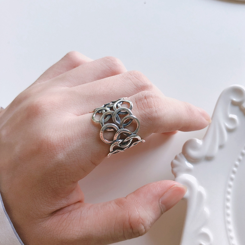 Silvology 925 Sterling Silver Irregular Circle Wide Rings Vintage Weave INS Korea Style Rings For Women 2019 Silver 925 Jewelry