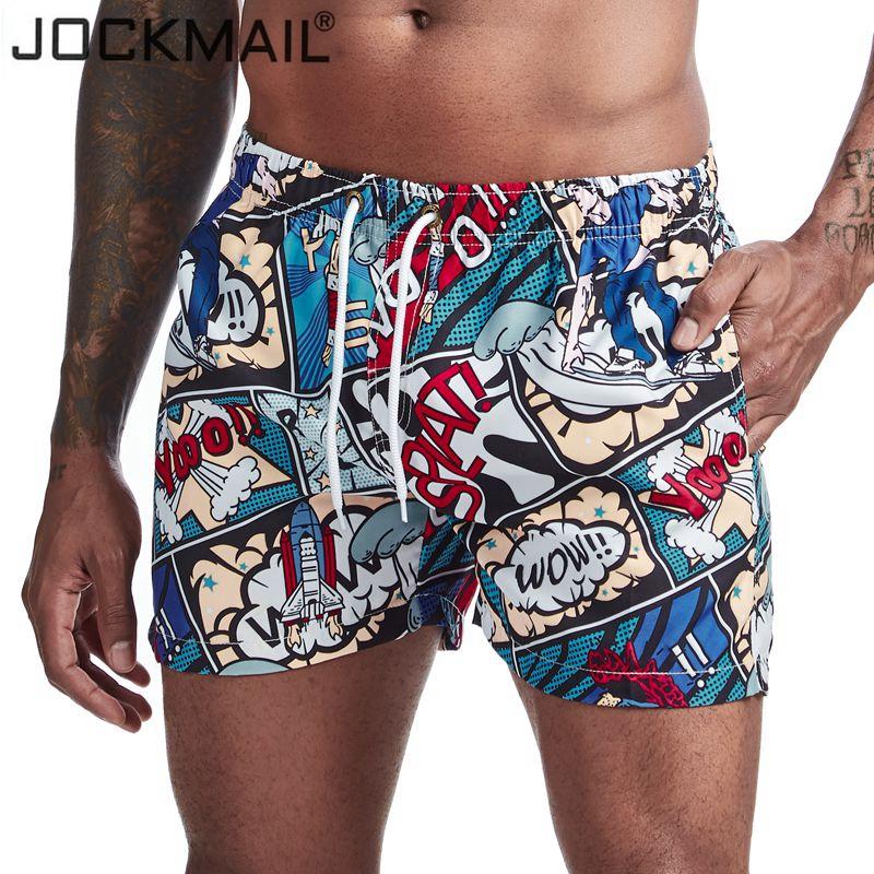 JOCKMAIL Mens Shorts Trunks Beach Board ShortsPrinted flower cartoon leaf pattern Swimming Pants Swimsuits Mens Surffing shorts