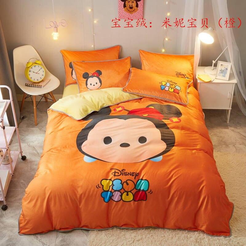 us 68 12 37 off disney orange tsum tsum comforters bedding set queen size quilt duvet cover for girls bed twin size bedspread kids single