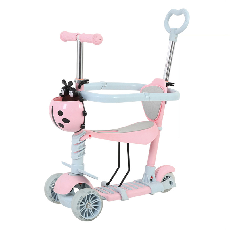 3 In1 Pu Flash Wheel Baby Walker Scooter Kids Ride on Toys Car for Children Balance Bike Push Trolley1-6years old